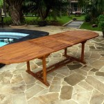 Table de jardin en teck XXL 200-250-300 cm double rallonge
