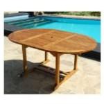 Table de jardin ovale teck huilé 6/8 personnes larg 120 cm long 120/170 - Ronde/ovale rallonge papillon